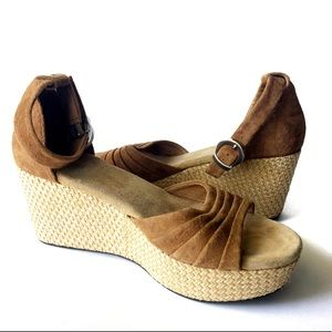 UGG Shoes - UGG Australia Tan Leanne Suede Wedges 9